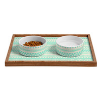 Allyson Johnson Mint Tribal Pet Bowl and Tray