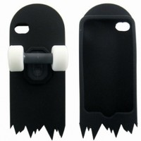 Black 3D Skateboard Cartoon Silicone Stand Case Cover Skin for iPhone 4 4G 4S