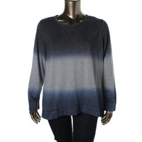 Style & Co. Womens Plus Ombre Long Sleeves Pullover Sweater