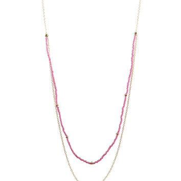 Meridian Avenue   Glass Beaded Gold Necklaces (Multiple Colors)
