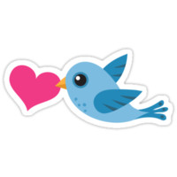 Blue bird carrying love heart stickers