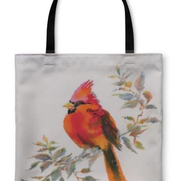 Tote Bag, Watercolor Painting Of Cardinal Bird Sitting On A Branch