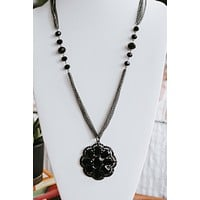 Flower Pendant Beaded Long Necklace (Sale)