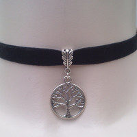 TREE Of LIFE CHARM 10mm Black Velvet Ribbon Choker ca.. or choose another colour velvet, handmade to order :)