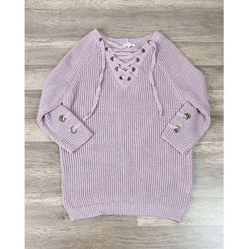 Lace Up Grommet Sweater in Soft Mauve