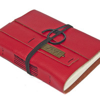 Red Leather Journal with Love Bookmark