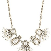 White Pearl & Rhinestone Statement Necklace by Charlotte Russe
