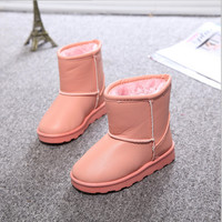 2016 New Winter Children Shoes  PU Leather Waterproof Boots Natural Fiber Slip Kids Snow Boots Brand Girls Boys Rubber Boots