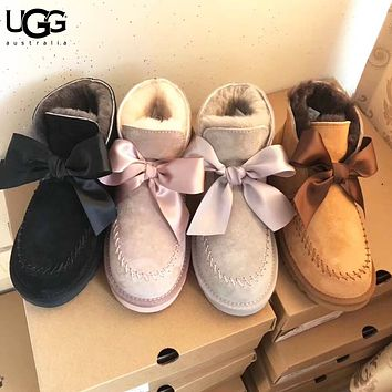 UGG Autumn And Winter New Fashion Bow Fur Keep Warm Boost Women Shoes