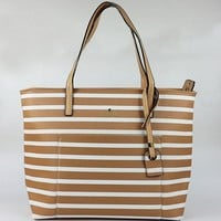 Hot Sale Kate Spade Women Brown White Stripe Handbag