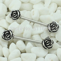 10pcs/lot Surgical Stainless Steel Barbell Piercing Rose Nipple Ring Bar Body Jewelry