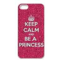 iPhone 5 Black/White RUBBER Case - Keep Calm and Be a Princess iPhone 5 Snap On RUBBER Case - Vazza