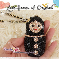 Combination of Bling Crystal Cell Phone / Mobile Phone and Russian Matryoshka doll Charm - ZoeCrystal