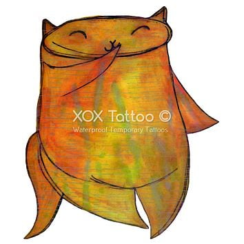 Shy Playful Orange Kitty Cat Waterproof Temporary Tattoos Lasts 3 to 4 days Choose Small, Medium or Large Sizes