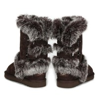 UGG Fashion Women Fur Wool Snow Boots Half Boots Shoes