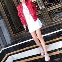 """ Louis Vuitton "" Fashion Unisex Letter Logo Baseball Clothes Couple Long Sleeve Zip Cardigan Jacket Coat"