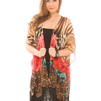 Online Exclusive! Floral Print and Fringe Kimono Scarf