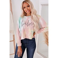 """""""Babes"""" Tie Dye Graphic Top (Pink/Yellow)"""