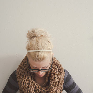 FALL SALE Ready to Ship Chunky Crochet Cowl, Oversized Infinity Scarf Large Brown Handmade Cowl