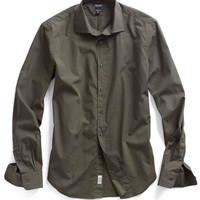 Poplin Spread Collar Dress Shirt in Olive