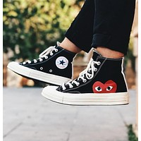 Comme Des Garçon Play x Converse Fashion Women Men Flat Canvas Shoes Sneakers