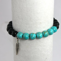 """Turquoise Mala Bead Bracelet, Stackable, Beaded Bracelet, Yoga Stack: Black Obsidian & Howlite """"Turquoise"""" with Tibetan Silver Feather Charm"""