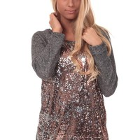Charcoal Terry Top with Sequin Front