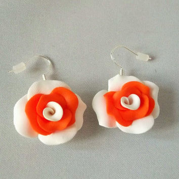 Orange Rose Earrings, Polymer Clay Jewellery, Gift For Her, Summer Jewellery