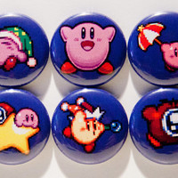 """Set of 6 Kirby 1"""" Pinback Buttons"""
