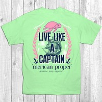 SALE Merican Proper Live Like a Captain Ship Boat Turtle Unisex T-Shirt
