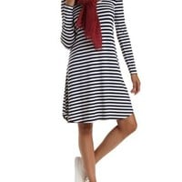 Navy Combo Striped Long Sleeve Swing T-Shirt Dress by Charlotte Russe