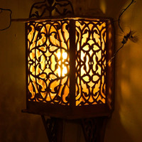 Wooden Lamp-wood lighting-rustic carving lamp-wall lamp-carved wall hanging decor-eco friendly-cottage style shabby chic-wall light-vintage