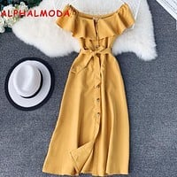 ALPHALMODA 2019 Summer Single Breasted Slash Neck High Waist Sashes Chiffon Dress Women Vintage Preppy Elegant Vestidos