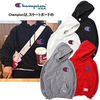 Champion Logo Embroidered Hooded Sweater M Xxl