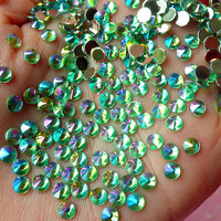 AB Green TIP TOP Faceted Rhinestones (4mm) (Around 150 pcs) Cell Phone Decoration, Jewelry Making, Scrapbooking, Nail Deco RHTT403