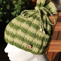 2 in 1 hat and cowl - slouchy striped beanie, handknit in Alpaka and wool light and dark green, perfect holiday gift for her or him