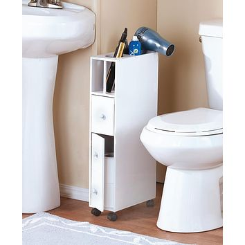 Slim Small Space Saving Bathroom & Beauty Supply Storage Rolling Holder & Organizer