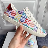GUCCI fashion color printing letter G couple casual shoes sneakers White