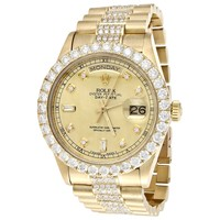 18K Gold 36mm Rolex President Day-Date Prong Diamond Watch (18038) - 8 CT.