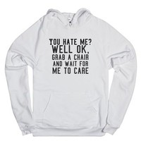 Wait for me to care-Unisex White Hoodie