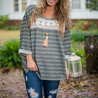 Shine On My Parade Top, Olive-Gray