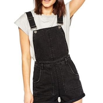 FV RELAY® Womens Black Jeans Denim Overall Jumpsuit Shorts with Adjustable Strap