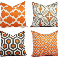 Throw Pillow Cover Orange and Beige - Decorative Pillow - Orange Quatrefoil Pillow - Accent Pillow -  Pillow Covers