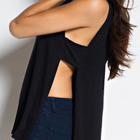 Sideways Cuout Top - Black FINAL SALE