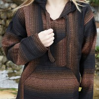 Mexican Threads  Brown Fade Baja Hoodie Drug Rug   Mexican Threads