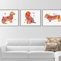 Long Haired Dachshund, Set of 3 Prints, Dachshund Watercolor, Dachshund Wall Art, Dachshund Decor, Dog Lover Gift, Dog Art Print, Framed Art