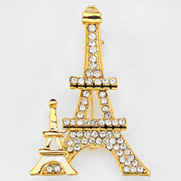 Crystal Pave Eiffel Tower Brooch