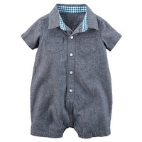 Baby Boy Carter's Chambray Polo Romper