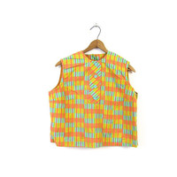 Colorful Cropped 60s Top Orange Tank Top BUTTONS UP BACK Yellow Crop Sixties Mod Tee Summer Cotton Blouse Louannes Vintage Small Medium