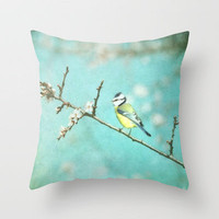 NEW *** SPRING BIRD  Throw Pillow by SUNLIGHT STUDIOS   Society6 in 3 SIZES :::. Get the spring into your livingroom!